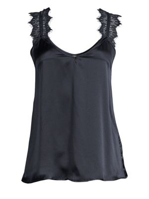 Grace Silk Pajama Tank, Dark Navy
