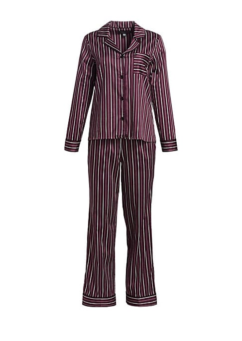 """Image of EXCLUSIVELY OURS. Tailored shirt and pants set in rich stripes. Cotton. Machine wash. Imported. SHIRT. Notch lapels. Long sleeves. Button cuffs. Button closure. Chest pocket. About 25.75"""" from shoulder to hem. SHORTS. Elasticized drawstring waist. Side-se"""