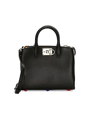 d491e2deb45a Salvatore Ferragamo - Mini The Studio Rainbow Interior Leather Top Handle  Bag