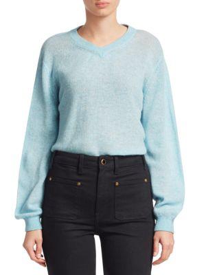KHAITE Corinna V-Neck Cashmere Sweater in Blue