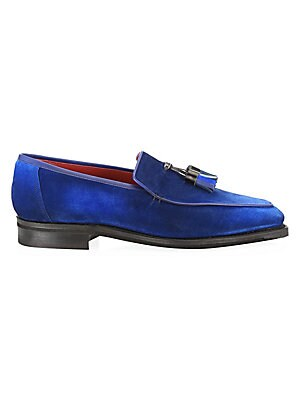 Image of ONLY AT SAKS. Artisanal tassels lend a bohemian aesthetic to these classic chaggal blue patinated French calf suede loafers. Leather upper Almond toe Slip-on style Hand-made, special edition leather tassels Lined in red calf leather Goodyear welted, black