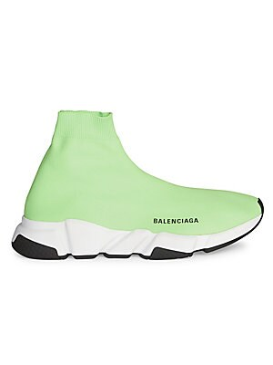Image of Seamless knit hi-rise sock sneakers with sleek logo accent Textile upper Slip-on style Almond toe Textile lining Rubber sole Made in Italy. Men's Shoes - Designer Shoes. Balenciaga. Color: Fluorescent Green. Size: 40 (7) E.