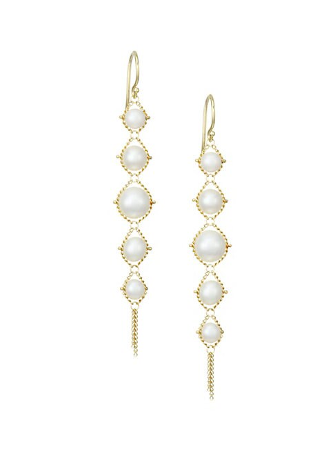 """Image of Delicate woven 18K yellow gold drop earrings set with round freshwater pearls.18K yellow gold. Round white freshwater pearls. Wire back. Made in USA. SIZE. Drop, about 2.6"""".Pearl size, 4MM-4.5MM."""