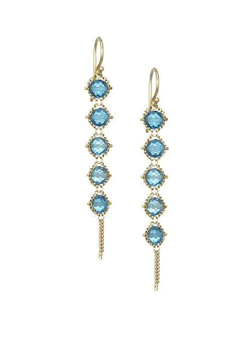 """Image of Delicate woven 18K yellow gold drop earrings set with glittering blue topaz.18K yellow gold. Blue topaz. Wire back. Made in USA. SIZE. Drop, about 2""""."""