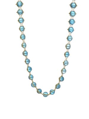 AMALI 18K Yellow Gold & Topaz Woven Necklace in Multi