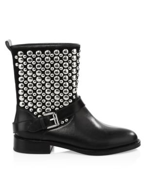 Women'S Saida Studded Leather Moto Boots in Black from Gilt