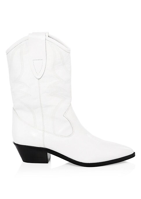 """Image of From the Saks IT LIST. THE COWBOY BOOT. Pair this versatile must-have with flowing skirts, jeans and more. Western boots crafted with embroidered leather. Block heel, 1.5"""" (40mm).Shaft, 9.75"""" (250mm).Leather upper. Point toe. Pull-on style. Lined. Synthet"""