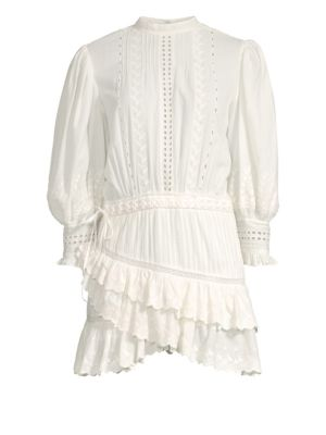LOVESHACKFANCY Lorelei Embroidered Eyelet Frill Mini Dress in Ivory