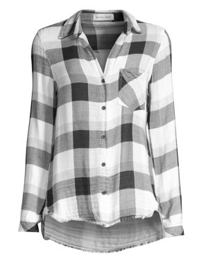 BELLA DAHL Frayed Plaid Shirt in White