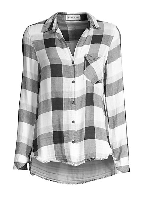 """Image of A frayed hi-lo hem updates this bold checker shirt. Point collar. Long sleeves. Button cuffs. Button front. Chest patch pocket. Hi-lo hem. About 27"""" from shoulder to hem. Rayon/cotton. Machine wash. Made in USA. Model shown is 5'10"""" (177cm) wearing US siz"""