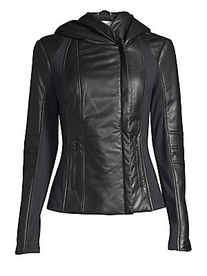 Image of Sleek leather jacket features a contemporary utilitarian hood. Attached hood Long sleeves Zip cuffs Concealed asymmetric zip front Waist zip pockets Dual back zip vents Nylon and spandex lining Leather Dry clean by leather specialist Imported SIZE & FIT A