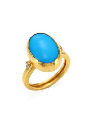 GURHAN 24K Yellow Gold Turquoise & Diamond Ring