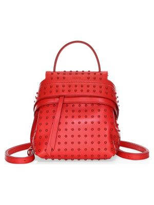 Mini Gommino Wave Leather Backpack, Red