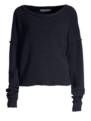 Sherpa Textured Boatneck Top in Navy