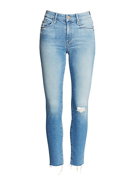 Image of Fit for royalty. This skinny silhouette hugs from hip to hem with a snip at the end. Clean cut with a touch of edge makes this the kind of jean every girl needs. Belt loops. Zip fly with button close. Five-pocket style. Distressed details. Raw hem. Cotton