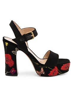 50ffd2e9a0e Valentino Garavani. Poppy Embroidered Platform Sandals
