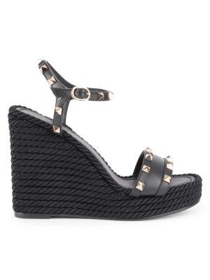67b39009624 Rockstud Torchon Leather Espadrille Wedge Sandals