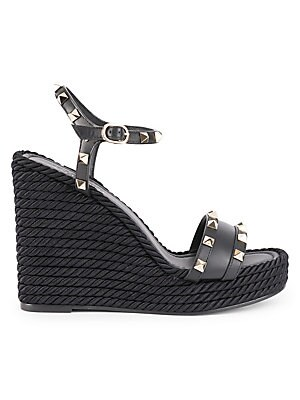 92ef5469233 Valentino Garavani - Rockstud Torchon Leather Espadrille Wedge Sandals