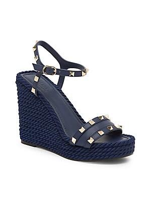 528fec3fe591 Valentino Garavani - Rockstud Torchon Espadrille Wedge Sandals