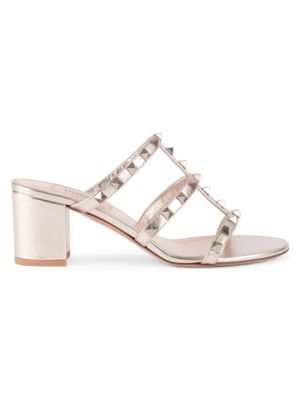Valentino Garavani Rockstud Metallic Leather Mules