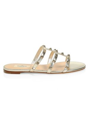 Rockstud Open Toe Leather Slides by Valentino Garavani