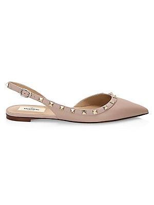05bc4f84f75f Valentino Garavani - Rockstud Smooth Leather Slingback Ballerina Flats