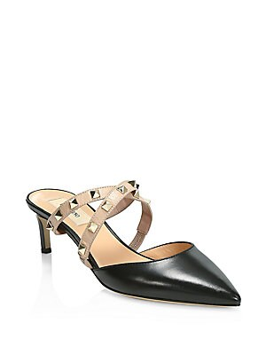 b9e6601c1fbf Valentino Garavani - Rockstud Crisscross Pebbled Leather Mules ...