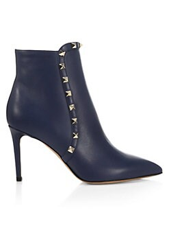 680335f86698 Valentino Garavani. Rockstud Leather Ankle Booties