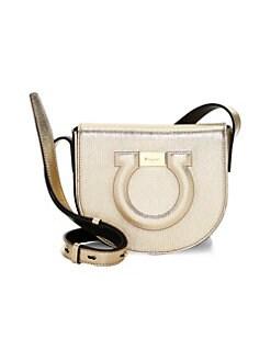 QUICK VIEW. Salvatore Ferragamo. Gancio City Metal Leather Crossbody Bag 8a1213c25bea7