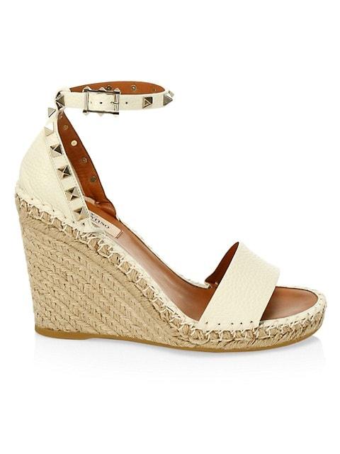 Rockstud Leather Espadrille Wedge Sandals