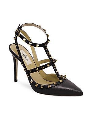 1527b61496e4 Valentino Garavani - Rockstud Pebbled Leather Ankle-Strap Pumps
