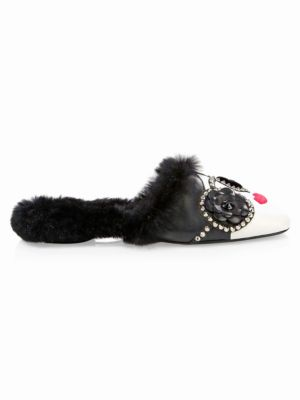Maja Faux Fur-Lined Leather Slippers, White Black