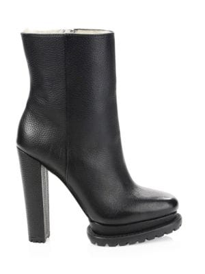 Holden Shearling-Lined Platform Boots, Black