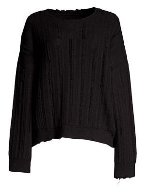 RTA Emmet Distressed Ribbed-Knit Sweater in Black