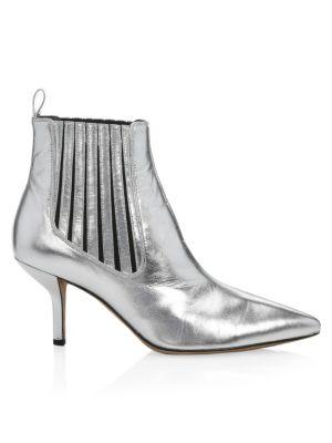 DIANE VON FURSTENBERG Mollo Metallic Leather Ankle Boots in Silver