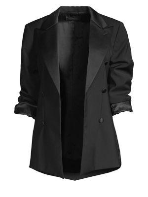 Grayson Silk Satin-Trimmed Wool Blazer, Pitch