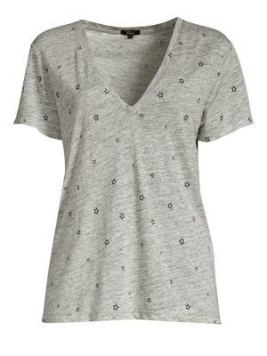 Cara Star-Print Linen/Tencel V-Neck Tee in Heather Grey