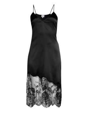 The Selena Lace-Trimmed Silk-Charmeuse Dress, Black