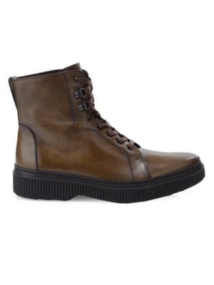 TOD'S Gomminis Leather Combat Boots, Brown