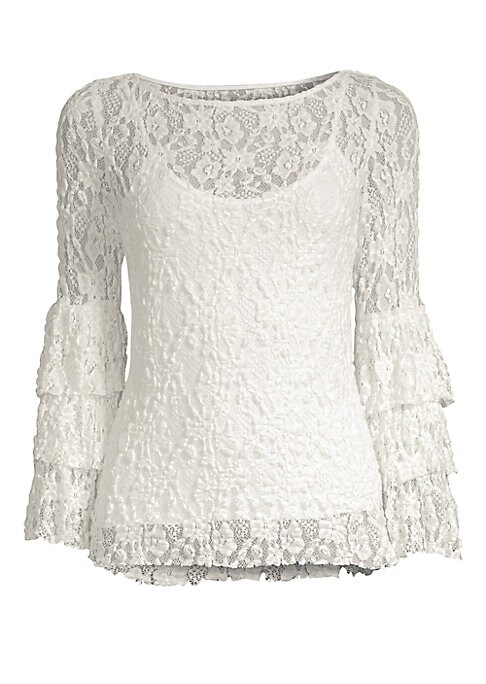 """Image of Charming floral lace top featuring tiered sleeves. Boatneck. Long bell sleeves. Pullover style. About 24.5"""" from shoulder to hem. Fabric 1: Rayon/nylon/Spandex. Fabric 2: Silk/rayon/spandex. Dry clean. Made in USA. Model shown is 5'10"""" (177cm) wearing US"""