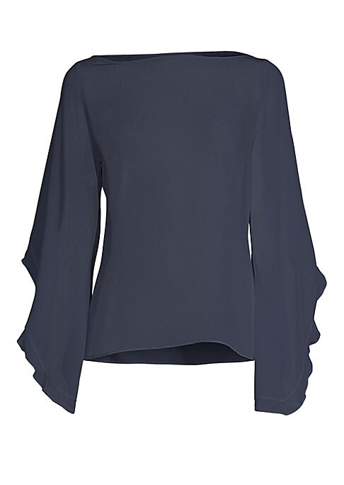 """Image of Flowy silk top in ruffled kimono sleeves. Boatneck. Long kimono sleeves. Pullover style. About 23.5"""" from shoulder to hem. Lined. Silk. Dry clean. Imported. Model shown is 5'10"""" (177cm) wearing US size Small."""