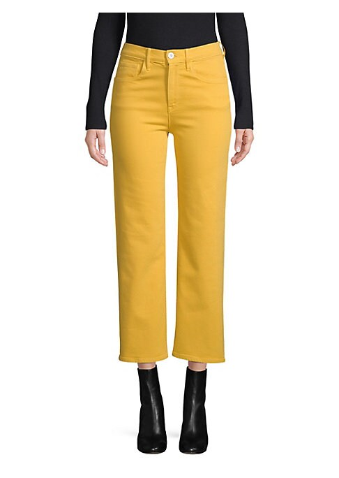 """Image of Crop jeans in flattering wide-leg silhouette. Belt loops. Zip fly with button closure. Five-pocket style. Rise, about 10"""".Inseam, about 25"""".Leg opening, about 14"""".Cotton/elastane. Machine wash. Made in USA of imported fabric. Model shown is 5'10"""" (177cm)"""