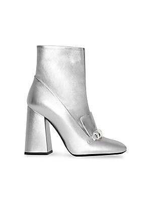 Silver Leather Metallic Boots Sakscom
