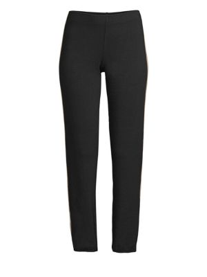 MONROW Cropped Track Pants in Black