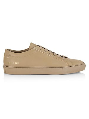 "Image of Sleek leather sneakers are constructed in a supple finish. Leather upper Round toe Lace-up vamp Leather lining Rubber sole Made in Italy SIZE Platform, 1"" (25mm). Men's Shoes - Contemporary Lifestyle. COMMON PROJECTS. Color: Black. Size: 39 (6)."