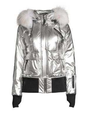 Fordham Fox & Rabbit Fur-Trim Down Bomber Jacket in Silver