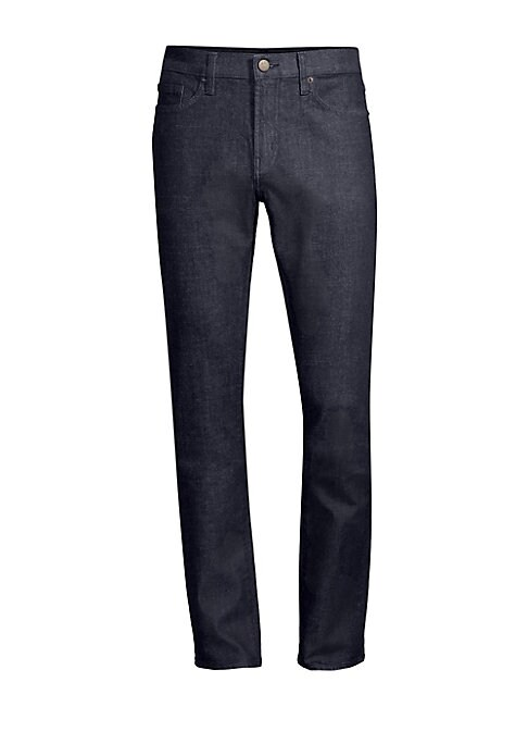 """Image of Streamlined cotton blend jean with a slim fit. Five pocket styling. Zip fly. Rise, about 10"""".Leg-opening, about 15"""".Inseam, about 34"""".Cotton/polyurethane. Machine wash. Imported."""