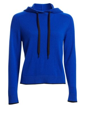Yorke Cashmere Mesh Pullover Hoodie, Bright Blue