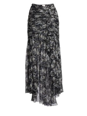 Kathleen Ruched Floral Silk Midi Skirt, Black Multi
