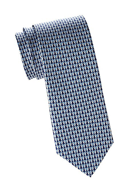 "Image of A pattern of tiny kissing penguins enhances this silk tie. Silk. Dry clean. Made in Italy. SIZE. Width, about 3""."